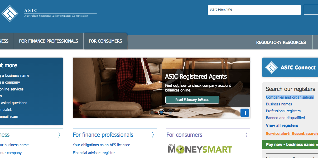 ASIC's homepage
