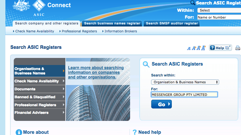 ASIC search screen