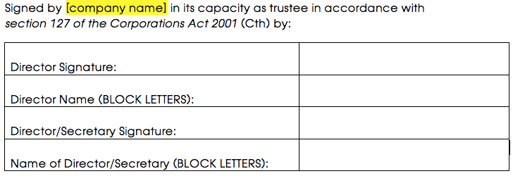 Signature block for a corporate trustee that has 2 or more directors or a director and a secretary